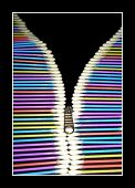 A framed conceptual image of the colored cotton buds created to looks like a a zipper of a coat. poster