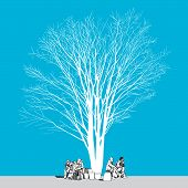 The abstract of large bare tree without leaves and people - hand drawn poster