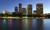 Beautiful Los Angeles city skyline at twilight poster