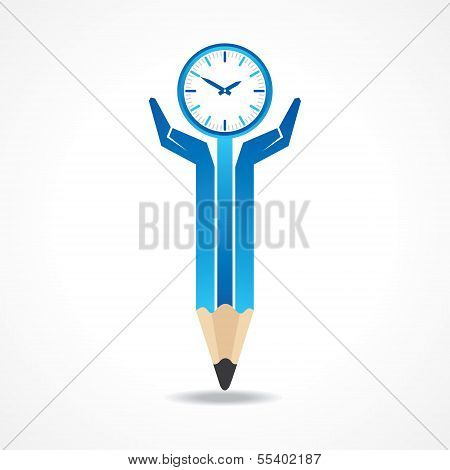 Save time concept with pencil hands