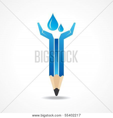 Save water concept with pencil hands stock vector