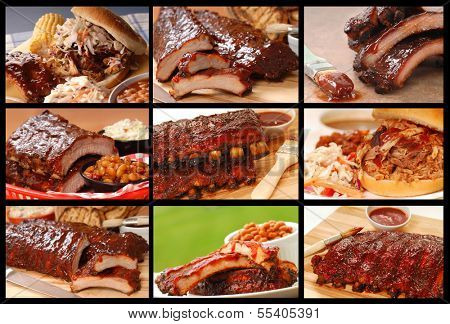 Collage showing a series of delicious BBQ food items including Ribs, Pulled Pork, Baked Beans and Cole Slaw