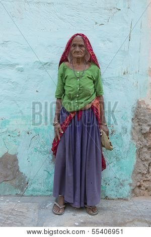 Old Indian Woman Standing