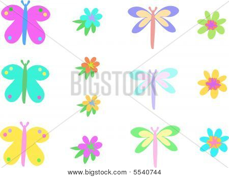 Here is a collection of Butterflies, Dragonflies and Flowers. poster