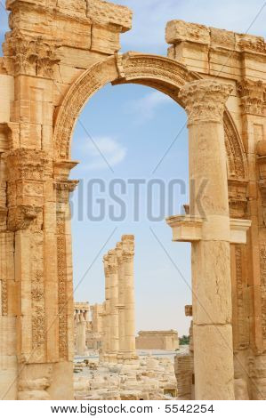 castle, citadelle, city, colonnade, column ancient Palmyra Syria poster