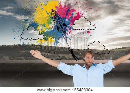 Composite image of handsome man raising hands and smiling poster