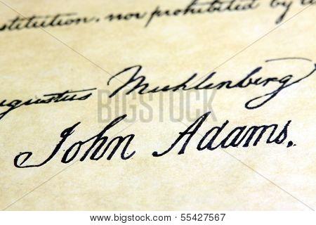 John Adams signature US constitution