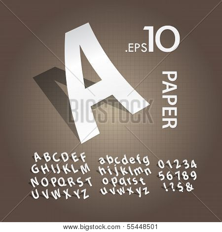 White Paper Alphabet And Numbers Vector