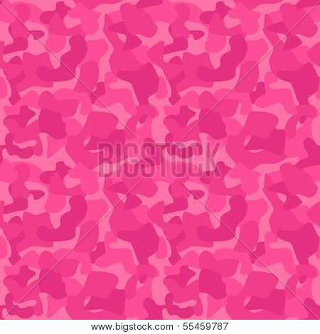 Seamless Camouflage Pattern For Girls. Tiled Texture, Background
