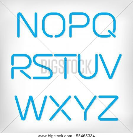 Modern minimal rounded font alphabet;  Sans-serif display elegant light font, vector alphabet letters design. Extra light, light, regular and bold versions included. Bold, heavy version