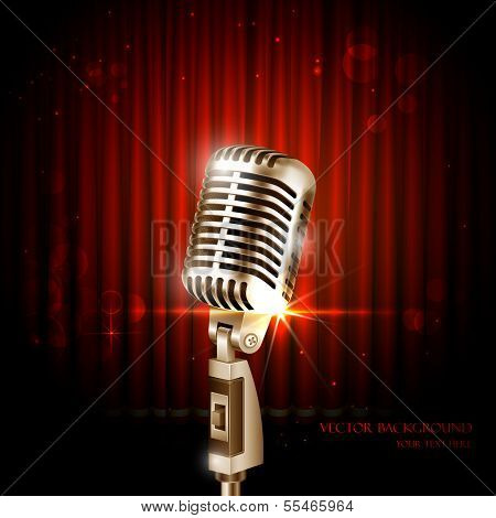 illustration of Vintage Microphone against curtain backdrop