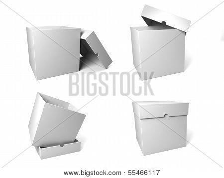 Four Containers Depicted In The Possible Configurations With The Lid