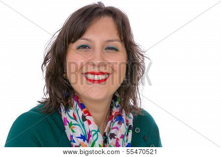 Middle Aged Woman Looking At You Benignly With Warm Smile