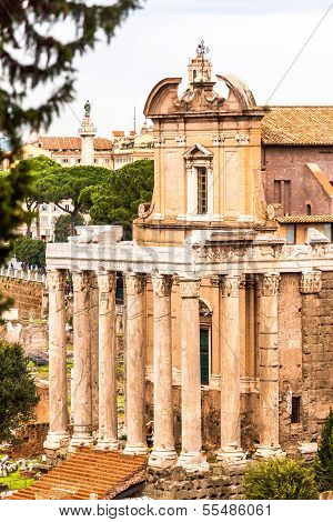The Temple Of Antoninus And Faustina In The Roman Forum In Rome, Italy, Converted To A Catholic Chur