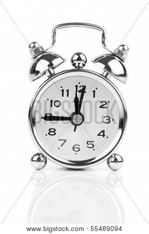 Alarm Clock Isolated On White In Black And White