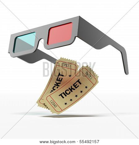 Stereo glasses and movie tickets