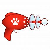Pet paw print icon on laser raygun vector illustration in retro 1950's style. poster
