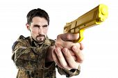 Male self defense instructor with camouflage do a self defense exercise with training gun isolated on white background poster