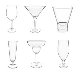 Various Glasses On White