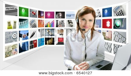 Business Redhead Beautiful Woman Headphones Tech Helpdesk