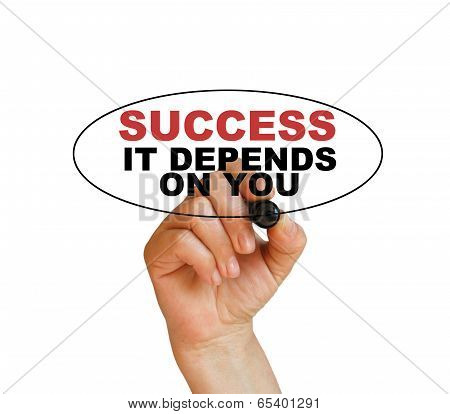 writing words ' Success it depends on you ' on white background made in 2d software poster