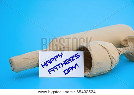 Card Of Happy Father's Day And Wine And Cup With Copy Space