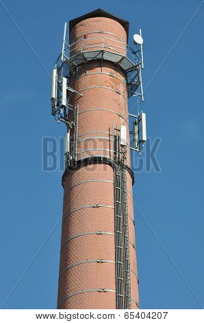 Brick chimney with antenna cellular systems