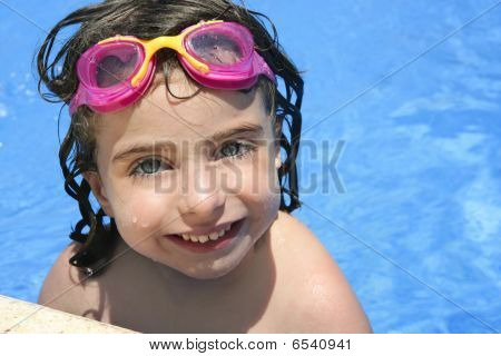 Beautiful Little Girl Smiling In   Pool
