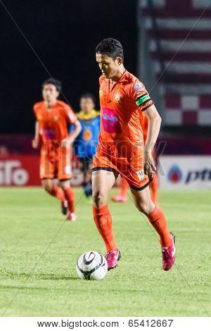 Sisaket Thailand-may 21: Sarayoot Chaikamdee Of Sisaket Fc. (orange) Runs For The Ball During Thaico