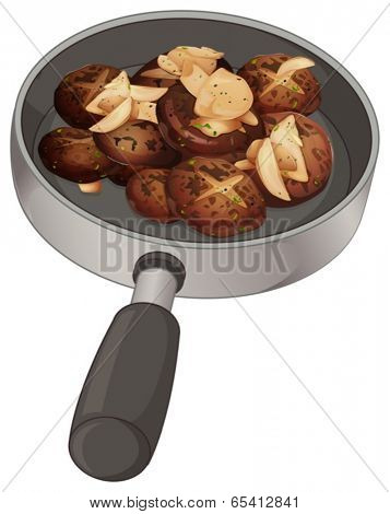 Illustration of a pan with nuggets on a white background