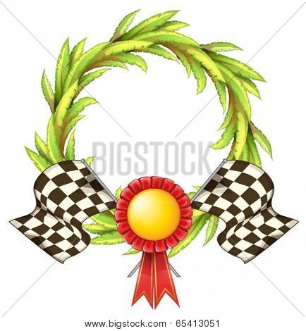 Illustration of a ribbon with two racing flags on a white background