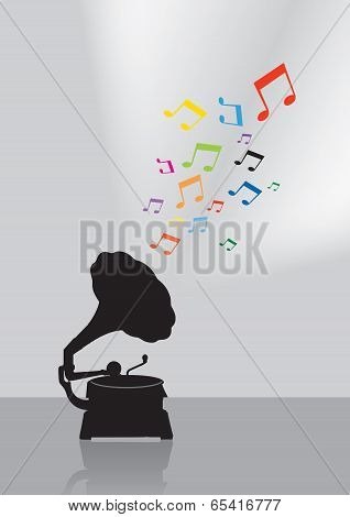 Vintage Gramophone Silhouette In Colorful Musical Concept On The Gray Background