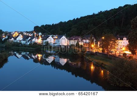 Town Runkel At Dusk. Germany