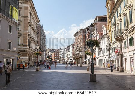 Pedestrian zone in Rijeka, Croatia