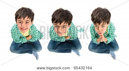 Happy Brunette Kid Over Isolated White Background