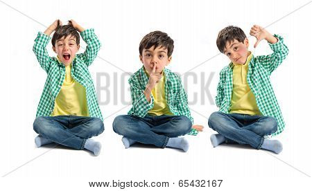 Kid doing silence gesture bad sign and shouting poster