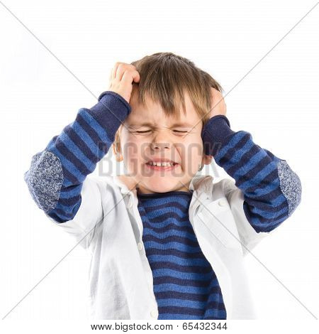 Kid Frustrated Over White Background