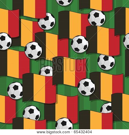 seamless pattern with belgium flags and soccer balls eps 10 format with transparencies and clipping path poster