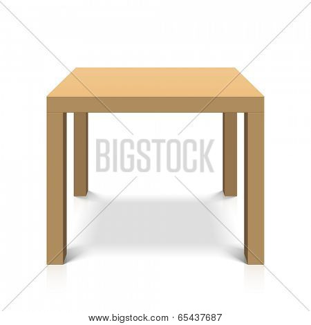 Wooden square coffee table. Vector.