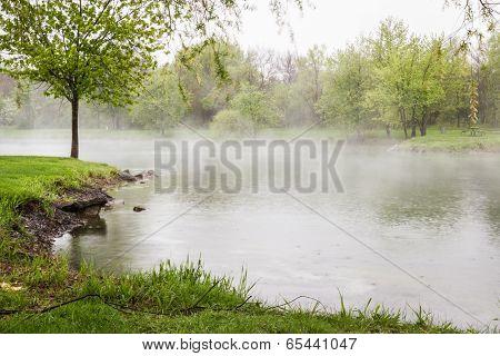 Spring Fog Over The Lake