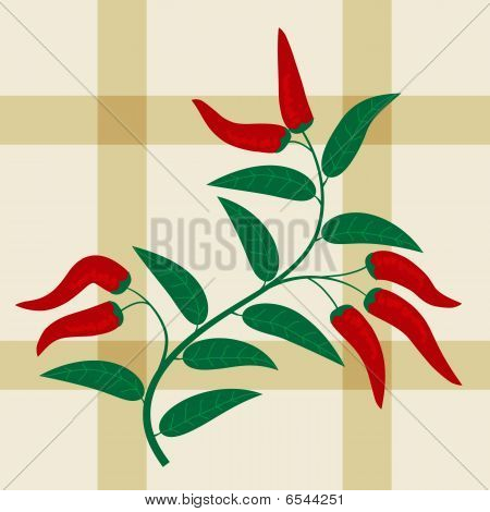 Checked seamless pattern with red hot peppers poster
