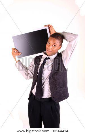 Man Holding Blank Screen