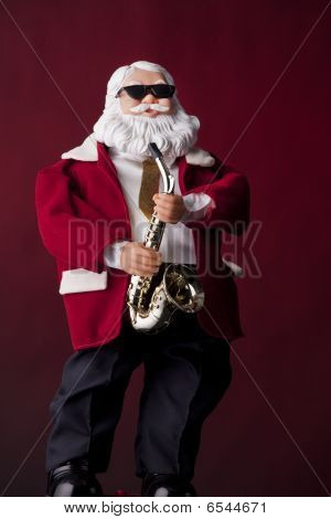 Santa Clause Playing Saxophone On Red