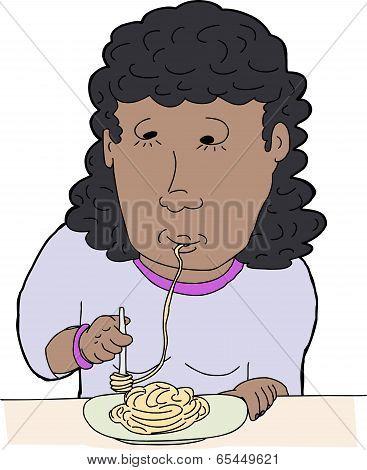 Woman Slurping Spaghetti