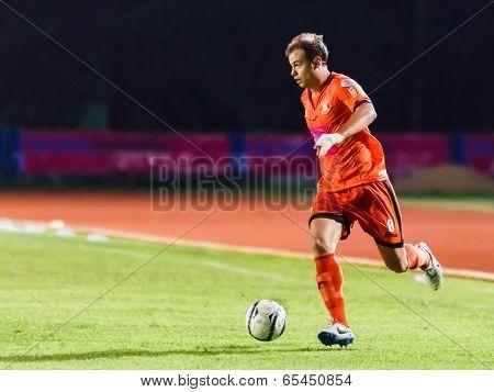 Sisaket Thailand-may 21: Albert Manteca Baldo Of Sisaket Fc. (orange) Runs For The Ball During Thaic
