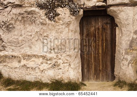 Old Wizard cave house entrance door . poster