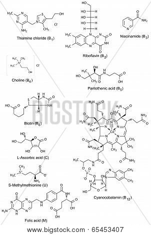 Chemical Structures Of Watersoluble Vitamins
