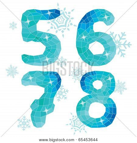 Multicolor Polygons Isolated Numbers 5,6,7,8.ice Winter Collection