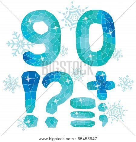 Multicolor Polygons Isolated Numbers  9,0 And Marks.ice Winter Collection