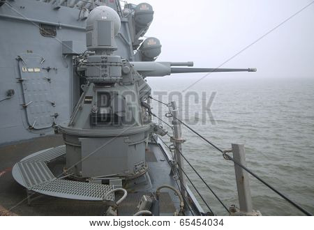 MK-38 25mm chain gun aboard the guided-missile destroyer USS Cole during Fleet Week 2014